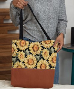vintage love sunflowers all over printed tote bag 5