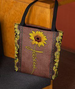 vintage sunflower Jesus all over printed tote bag 2