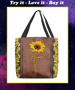 vintage sunflower Jesus all over printed tote bag