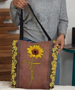 vintage sunflower Jesus all over printed tote bag 4