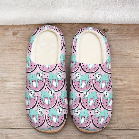 watermelon and sloth all over printed slippers 2