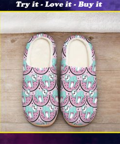 watermelon and sloth all over printed slippers