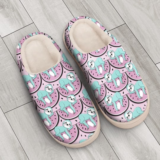 watermelon and sloth all over printed slippers 4