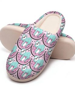 watermelon and sloth all over printed slippers 5