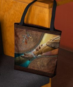 way maker miracle worker leather pattern all over print tote bag 2