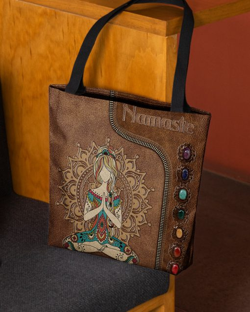 yoga namaste leather pattern all over printed tote bag 2