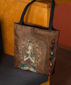 yoga namaste leather pattern all over printed tote bag 3