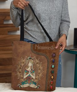 yoga namaste leather pattern all over printed tote bag 4