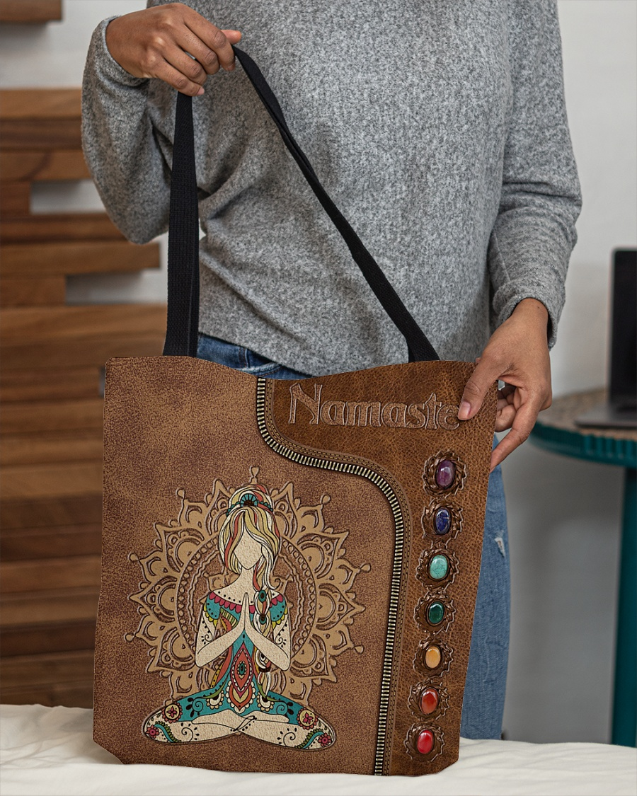 yoga namaste leather pattern all over printed tote bag 5