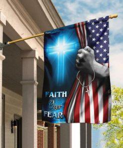 Christian cross faith over fear america flag all over print flag 2