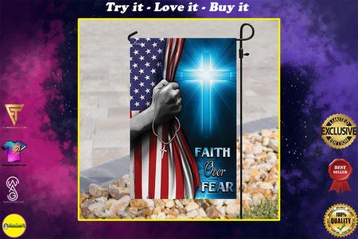 Christian cross faith over fear america flag all over print flag