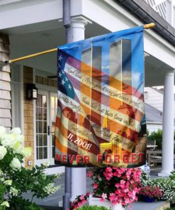God bless america and may we never forget all over print flag 2