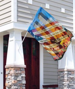 God bless america and may we never forget all over print flag 4