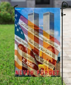 God bless america and may we never forget all over print flag 5