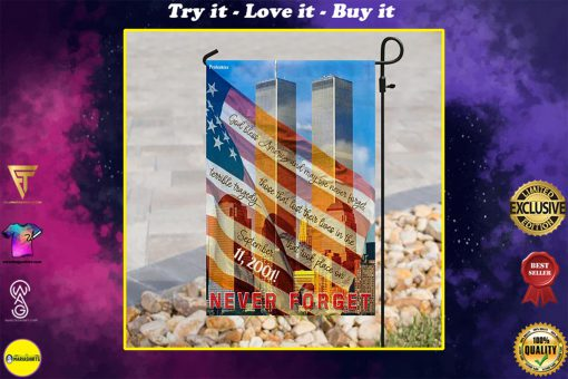 God bless america and may we never forget all over print flag
