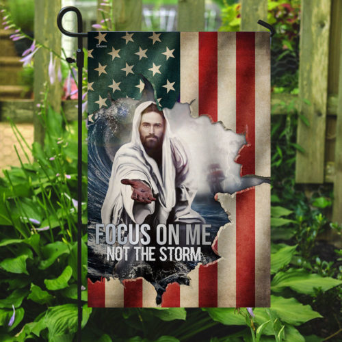 God focus on me not the storm american flag all over print flag 5