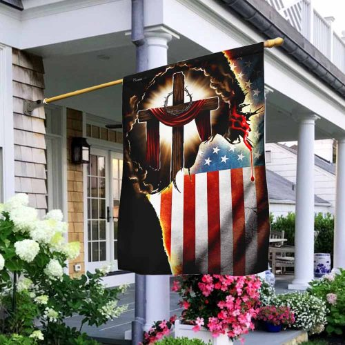 Jesus Christian american flag all over print flag 3
