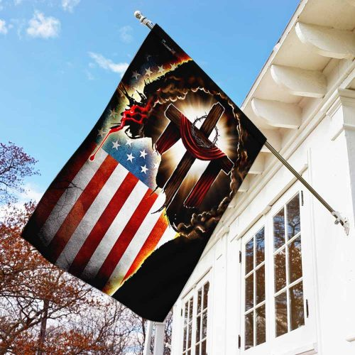 Jesus Christian american flag all over print flag 4