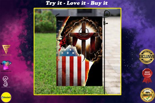 Jesus Christian american flag all over print flag