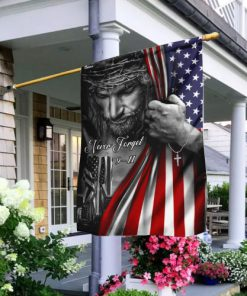 Jesus Christian never forget 9 11 full printing flag 2