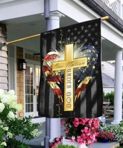 american flag cross one nation under God all over print flag 2