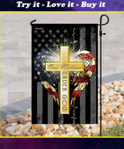 american flag cross one nation under God all over print flag