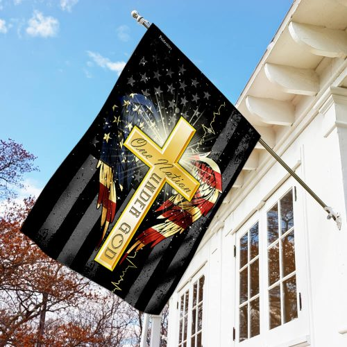 american flag cross one nation under God all over print flag 3
