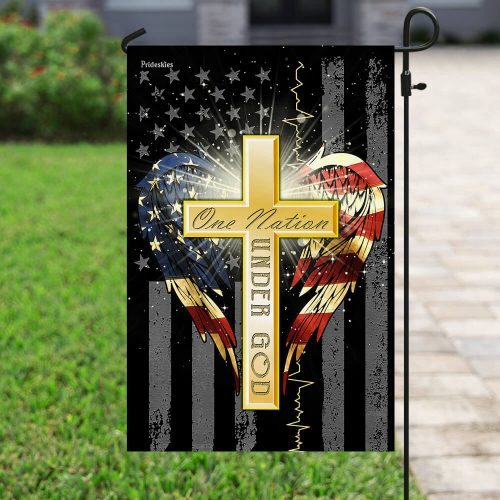american flag cross one nation under God all over print flag 4
