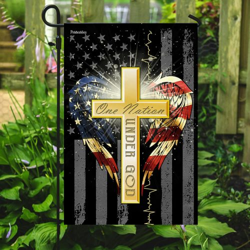 american flag cross one nation under God all over print flag 5