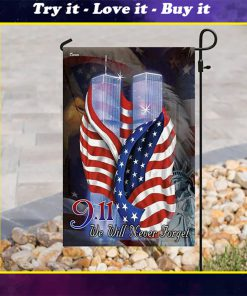american flag september 11th we will never forget all over print flag