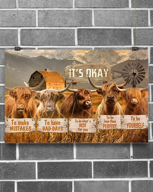 cow its okay to make mistakes to have bad days to be yourself poster 2