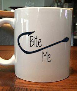 fish hook bite me coffee mug 1