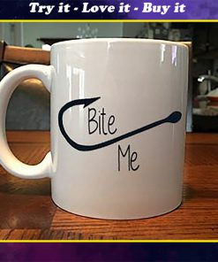fish hook bite me coffee mug