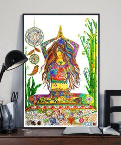 girl yoga watercolor wall decor visual art poster 3