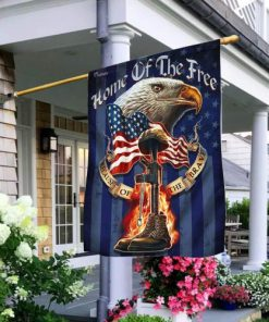 home of the free because of the brave veteran flag 2