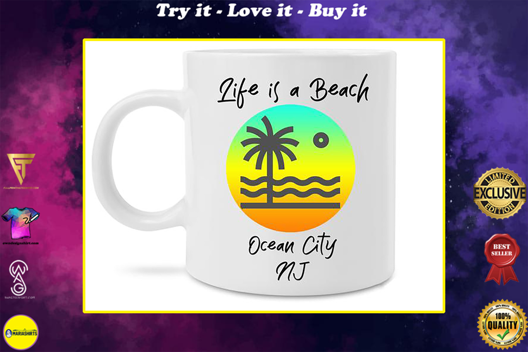 life is a beach ocean city new jersey coffee cup