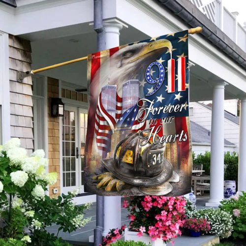 new york firefighters raising flag forever in our hearts all over print flag 2
