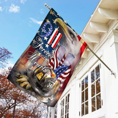 new york firefighters raising flag forever in our hearts all over print flag 3