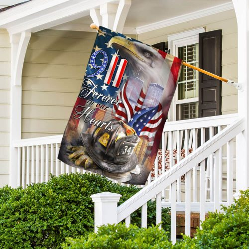 new york firefighters raising flag forever in our hearts all over print flag 4
