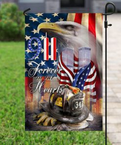 new york firefighters raising flag forever in our hearts all over print flag 5