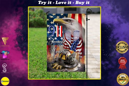 new york firefighters raising flag forever in our hearts all over print flag