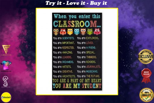 owl when you enter this classroom you are my student poster