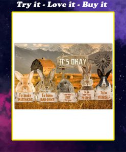 rabbit its okay to make mistakes to have bad days to be yourself poster