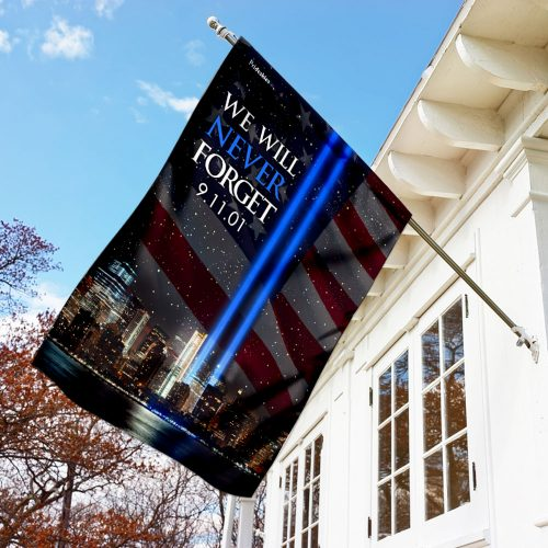 september 11th 2001 we will never forget all over print flag 3