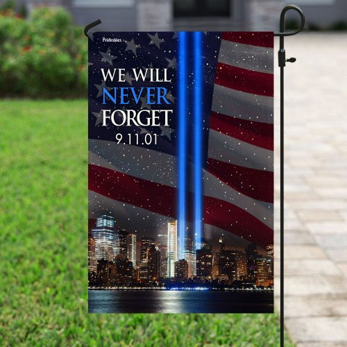 september 11th 2001 we will never forget all over print flag 5