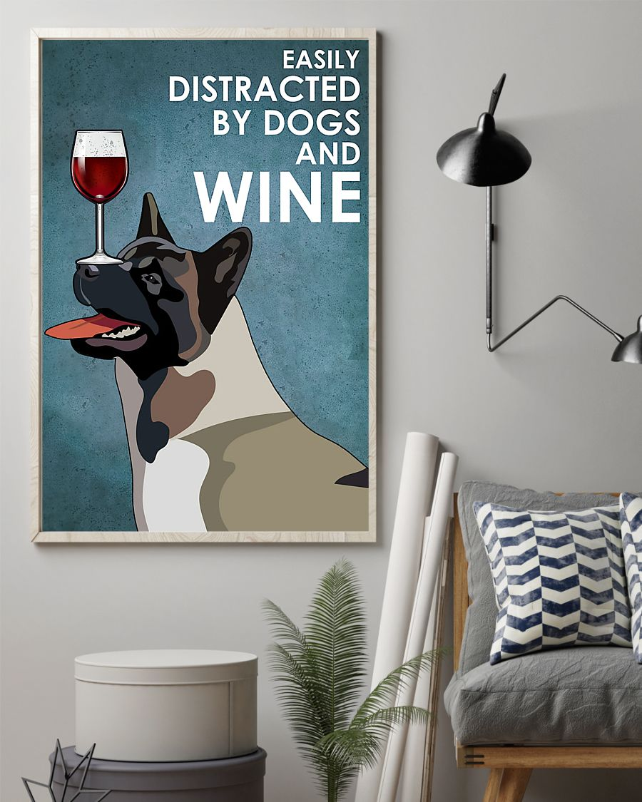 vintage american akita easily distracted by dogs and wine poster 2