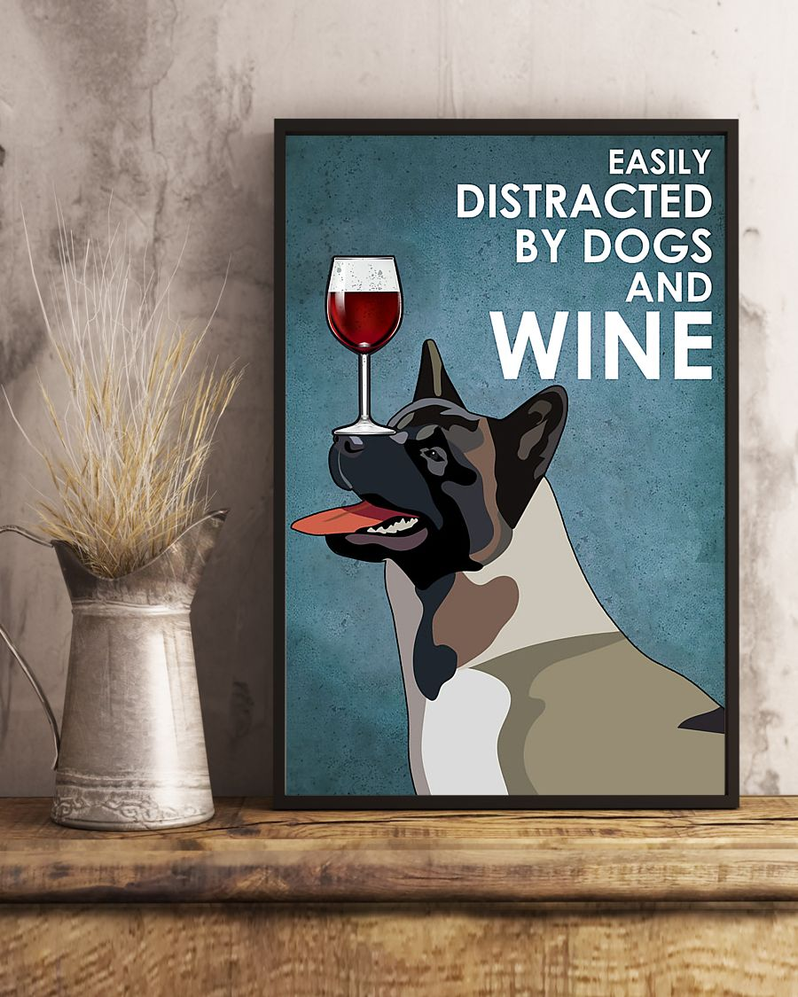 vintage american akita easily distracted by dogs and wine poster 5