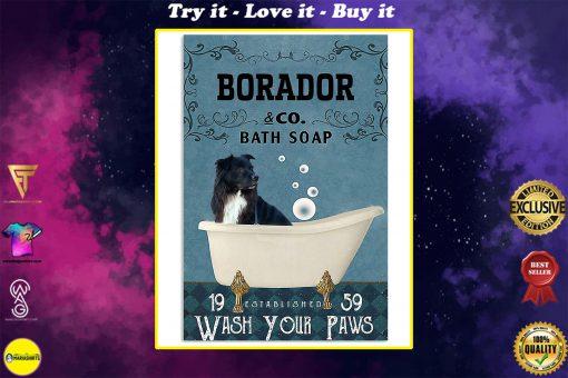 vintage borador dog bath soap wash your paws poster