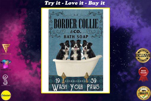 vintage border collie bath soap wash your paws poster