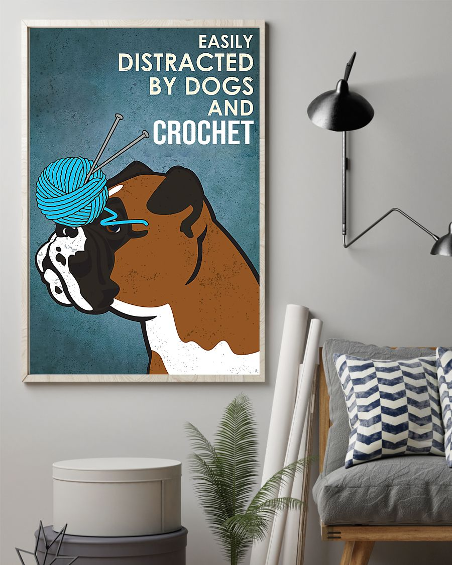 vintage boxer easily distracted by dogs and crochet poster 2